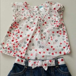 Old Navy red and white heart outfit 6-12M